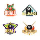 Billiards, pool and snooker sport icons. Billiard logo set. Billiards, pool and snooker sport icons for poolroom emblems design with balls, cues, tables. Vector Stock Photography