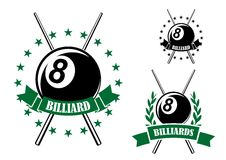 Billiards or pool sporting emblem. Billiards or pool retro emblems in green and black colors with eight ball and crossed cues encircled by ribbon banners, stars Royalty Free Stock Images