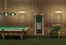 Billiards. pool table and furniture in interior. Stock Images