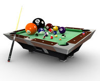 Billiards pooltable with balls,chalk and cuestick Stock Photography