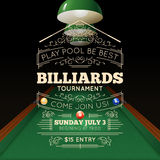Billiards Poster Illustration. Billiards tournament realistic poster with price time and date vector illustration Stock Image