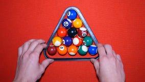 Billiards. Put the pyramid in billiards. stock video