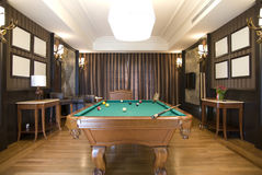 Billiards Room. The luxury billiards room in hotel Royalty Free Stock Photos