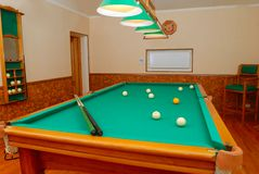 Billiards room interior. In private house stock photography