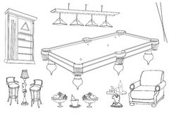 Billiards room outline first. Set of vector sketch hand-paind  furniture for relaxation and playing billiard room and bar, stand for cues and balls, table, seats Stock Photos
