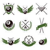 Billiards and snooker labels set. Vector. Billiards and snooker labels and icons set. Vector Stock Images