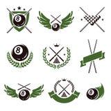 Billiards and snooker labels set. Vector. Billiards and snooker labels and icons set. Vector royalty free illustration