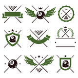 Billiards and snooker labels set. Vector. Billiards and snooker labels and icons set. Vector Stock Image