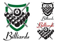 Billiards and snooker retro emblems set. Set of billiards labels or emblems with crossed cues over racked balls for an 8 ball game, two in shields with the text Royalty Free Stock Photography