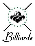 Billiards and snooker sports emblem. With balls, cue , stars and text for sporting logo and leisure design stock illustration