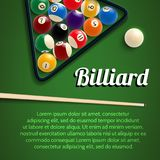 Billiards 3d poster with green table, ball and cue. Billiards sport game 3d poster for pool room or billiard club template. Green billiard table in starting Royalty Free Stock Image
