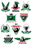 Billiards sport game heraldic icons Stock Image