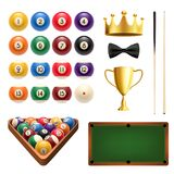 Billiards sport 3d icon with ball, cue and table. Billiards sport icon set with snooker game equipment and item. Billiard, snooker and pool ball with cue, green Royalty Free Stock Photo