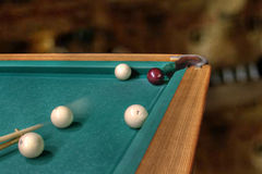 Billiards straight single shot Stock Photos