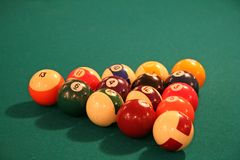 Billiards Table. With Racked Balls royalty free stock photography
