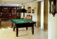 Billiards table. In the house Royalty Free Stock Image