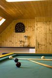Billiards table. With balls and cue sticks Royalty Free Stock Photography