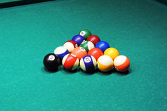 Billiards table and balls Royalty Free Stock Photos