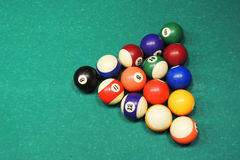 Billiards table and balls Royalty Free Stock Images