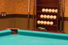 Billiards table and equipment Stock Photography