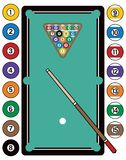 Billiards Table and Equipment vector illustration