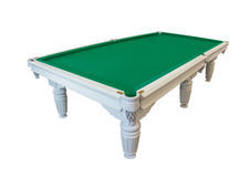 Billiards table. White wooden billiards table with figured ornamental carving isolated on white background stock image
