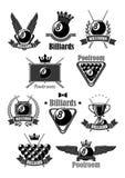 Billiards tournament awards vector icons set Stock Photo