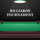 Billiards tournament background with green table. Realistic design Stock Images