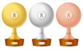 Billiards trophy set Stock Photos