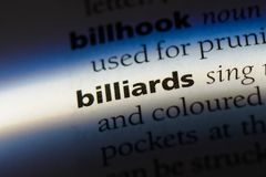 Billiards. Word in a dictionary.  concept Royalty Free Stock Photos