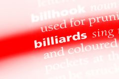 Billiards. Word in a dictionary.  concept royalty free stock photo