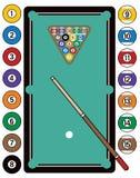Billiards wyposażenie i stół ilustracja wektor