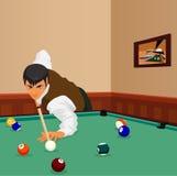 Billiardskott Manlekar Arkivfoton