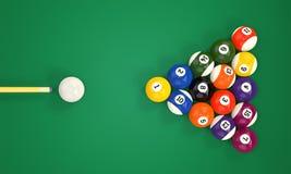Billiardstickreplik och pölbollar royaltyfri illustrationer