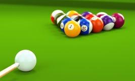 Billiardstickreplik och pölbollar