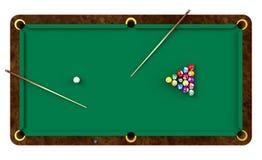 Billiardtabelle mit Kugeln und Marken Lizenzfreie Stockbilder
