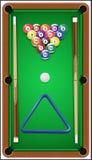Billiarduppsättning Billard bollar, stickreplik och billiard Arkivfoto