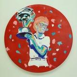 Billie Jean King-` s Acrylmalerei vom Künstler Bradley Theodore stellte sich bei Luis Armstrong Stadium während US Open 2016 dar Stockbild