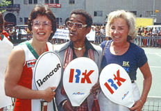 Billie Jean King, Sammy Davis, Jr., and Ethel Kennedy Stock Photos