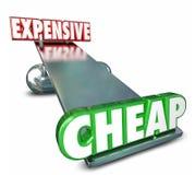 Billig gegen die teure Balance des ständigen Schwankens, die Preis-Kosten vergleicht stock abbildung