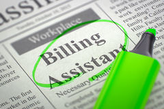 Free Billing Assistant Wanted. Royalty Free Stock Photography - 71859737
