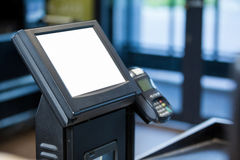 Billing machine and credit card terminal at cash counter Stock Photos