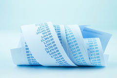 Billing paper rolls in blue tone Royalty Free Stock Photo