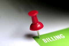 Billing Tag. Pinned on the white notice board Royalty Free Stock Photography