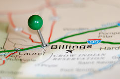 Billings city pin. On the map Royalty Free Stock Image