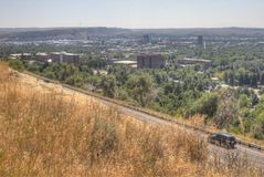 Billings, Montana as seen from above in Summer. Billings is one of the largest cities in the state of Montana stock photo