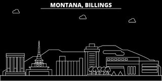 Billings silhouette skyline. USA - Billings vector city, american linear architecture, buildings. Billings travel. Billings silhouette skyline. USA - Billings Royalty Free Stock Photo