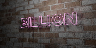 BILLION - Glowing Neon Sign on stonework wall - 3D rendered royalty free stock illustration. Can be used for online banner ads and direct mailers Stock Image