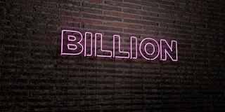 BILLION -Realistic Neon Sign on Brick Wall background - 3D rendered royalty free stock image Stock Images