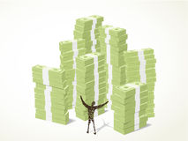 Billionaire. A person standing in front of piles of green banknotes with a happy manner Stock Photography